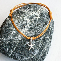 Sterling Silver Starfish Bracelet / Starfish Anklet (many colors to choose)