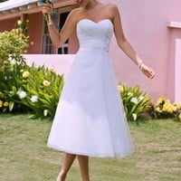 Tea-Length Strapless Tulle Gown with Floral Sash - David's Bridal- mobile
