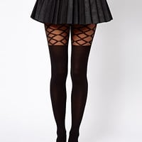 ASOS Grid Check Panel Over The Knee Tights