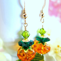 Swarovski crystal orange pumpkin dangle earrings