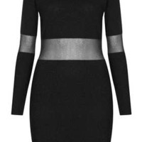 Knitted Sheer Panel Dress - Bodycon Dresses - Dresses  - Clothing