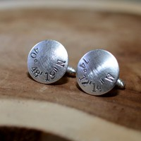 Personalized latitude longitude sterling silver rustic cuff links