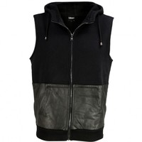 VIPARO | Black Half Lambskin Leather Hooded Sleeveless Jacket Vest - Dimension