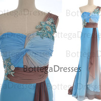 Mermaidn One Shoulder with Beaded Floor Length Chiffon Prom Dresses, Formal Gown, Evening Dresses