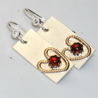 Mixed Metal Earrings - Garnet Earrings - Heart Earrings - Metalwork