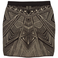 H&M - Jacquard-knit Skirt - Black/Gold - Ladies