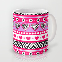 Pink zebra hearts and flowers Mug by Silvianna