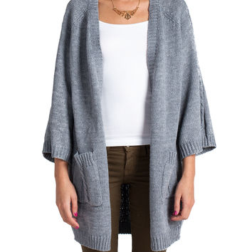 Short Sleeved Cable Knit Cardigan - Gray /