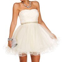 Angelique-Ivory Homecoming Short Dress