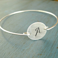 Personalized Silver Bangle Bracelet Bridesmaid Jewelry Initial Bracelet Monogram Bracelet Bridesmaid Gift