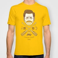 Ron Swanson Canoe Camp (dirty brown variant) T-shirt by Damaged Goods