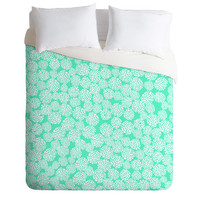DENY Designs Home Accessories | Joy Laforme Dahlias Seafoam Duvet Cover