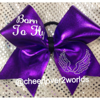 Born To Fly Bow  with Angel Wings (Customize Color)