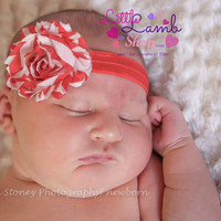 Baby Headband, Christmas Headband, Newborn headband, Candycane Red White Flower Hairband, Newborn girl props, Kids Hair Accessories, Canada