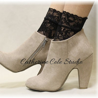Lace socks lacey socks womens wedding socks for heels peep socks Stretch Lace socks for heels  COSMOPOLITAN Black Catherine Cole Studio FT5N
