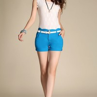 Blue Sexy Style Girls OL High Waist Pencil Casual Shorts Hot Pants+Belt Size S