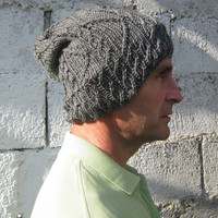 Hand knit hat - womens slouch knit hat - mens hand knit slouch hat - knitted unisex slouch hat - fall fashion