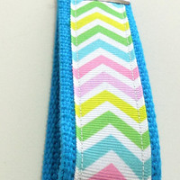Pastel Chevron Ribbon Key Ring Key Fob Wristlet