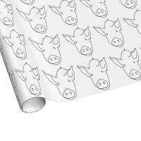 BLACK AND WHITE PIG Wrapping Paper