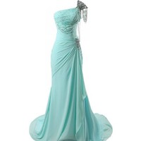 Winey Bridal Beaded Shiny One-shoulder Aqua Long Prom Evening Dresses