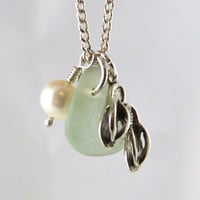Sea Glass Necklace Sterling Silver Flip Flops Freshwater Pearl
