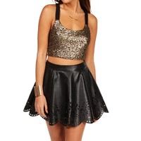 Pre-Order: Black/Good Sequin Bar Back Crop Top