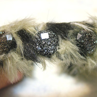 Cuff Bracelet, Faux Leopard Fur and Rhinestones, Handmade, Adjustable, OOAK, Jewelry