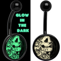 Black Glow in the Dark Katrina Sugar Skull Belly Ring | Body Candy Body Jewelry