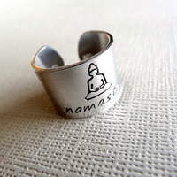 Namaste Ring - Namaste Buddha Ring - Thick 1/2 inch, Aluminum, Adjustable