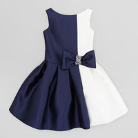 Vertical Colorblock Party Dress, Navy/Cream, Sizes 2-6