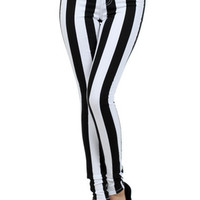 Wide Stripe High Rise Skinny Jeans | OnlyLeggings.com - Women's Fashion Superstore