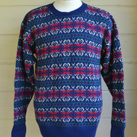 Vintage Men's Pullover Sweater Knit Sweater Grandpa Sweater Size Medium