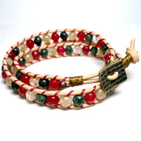 Christmas Multi Gemstone Double Wrap Tan Leather Bracelet