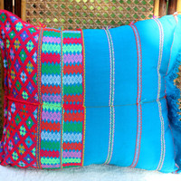 Large Floor Pillow / Cushion Cover in Ethnic Karen Woven Cotton With Fringe
