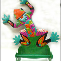 Colorful Painted Metal Frog Bathroom Toilet Paper Holder