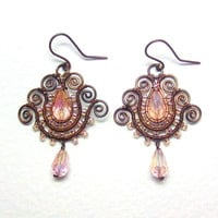 Romantic Pink Tulip Copper Earrings, Soutache Styled Wire Wrapped Jewelry