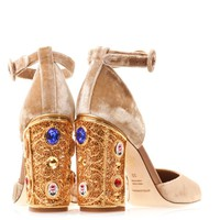 Vally velvet embellished heel shoes | Dolce & Gabbana | MATCHE...