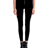 High Rise Velvet Zipper Front Leggings | 2020AVE