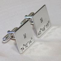Personalized latitude longitude square sterling silver cuff links