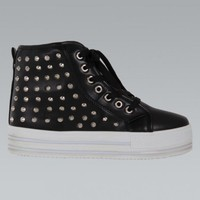 Black High Top Studded  Platform Sneakers