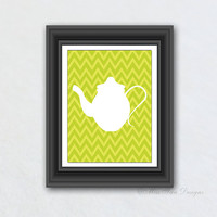 Kitchen Print, Tea Print, Chevron Pattern, Green Tea Kettle Art, Digital Art, Your Choice of Any Background, Room Decor