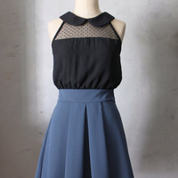 PREORDER PIXIE Marine- Black round collar polka dot lace dress / colorblock // dark navy blue pleated skirt // bridesmaid // cocktail // LBD