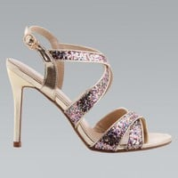 Gold & Glitter Strap Open Toe High Heel Sandals