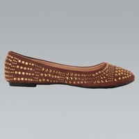 Brown Gemstone Studded Ballet Flat