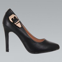 Black Faux Leather Pointed Toe Heel with Buckle Detail