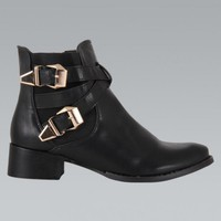 Black Faux Leather Ankle Boots with Double Buckle Detail