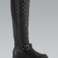 Black Quilted Knee High Riding Boots