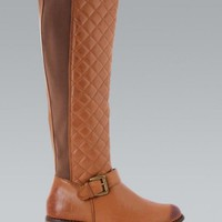 Burnt Tan Quilted Knee High Riding Boots