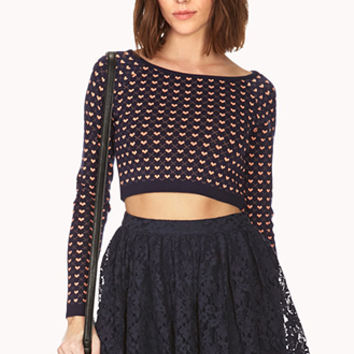 Crazy Hearts Cropped Sweater