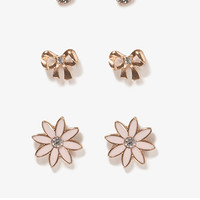 Rhinestoned Flower Stud Set